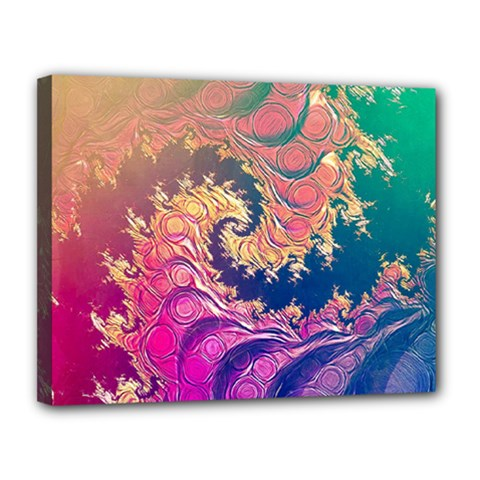 Rainbow Octopus Tentacles In A Fractal Spiral Canvas 14  X 11  by beautifulfractals