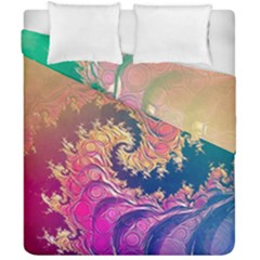 Rainbow Octopus Tentacles In A Fractal Spiral Duvet Cover Double Side (california King Size) by jayaprime