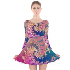 Rainbow Octopus Tentacles In A Fractal Spiral Long Sleeve Velvet Skater Dress by jayaprime