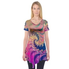 Rainbow Octopus Tentacles In A Fractal Spiral Short Sleeve Tunic  by beautifulfractals