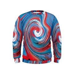 Red And Blue Rounds Kids  Sweatshirt by berwies