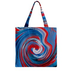 Red And Blue Rounds Zipper Grocery Tote Bag by berwies