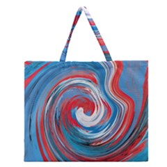Red And Blue Rounds Zipper Large Tote Bag by berwies