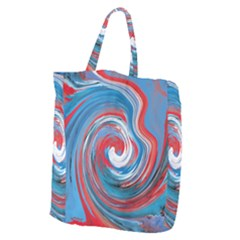 Red And Blue Rounds Giant Grocery Zipper Tote by berwies