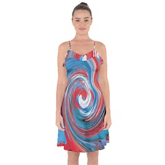 Red And Blue Rounds Ruffle Detail Chiffon Dress by berwies
