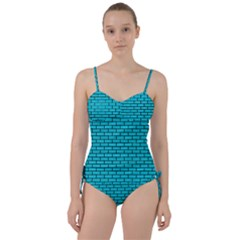 Brick1 Black Marble & Turquoise Colored Pencil Sweetheart Tankini Set