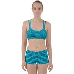 Brick1 Black Marble & Turquoise Colored Pencil Women s Sports Set