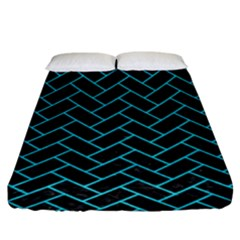 Brick2 Black Marble & Turquoise Colored Pencil (r) Fitted Sheet (king Size) by trendistuff