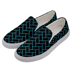 Brick2 Black Marble & Turquoise Colored Pencil (r) Men s Canvas Slip Ons by trendistuff