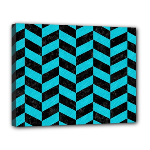 Chevron1 Black Marble & Turquoise Colored Pencil Canvas 14  X 11  by trendistuff