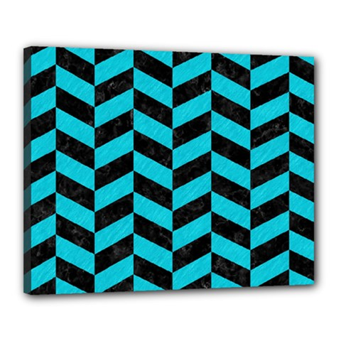 Chevron1 Black Marble & Turquoise Colored Pencil Canvas 20  X 16  by trendistuff