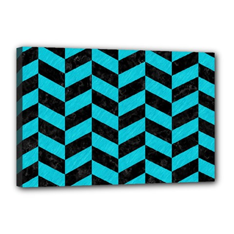 Chevron1 Black Marble & Turquoise Colored Pencil Canvas 18  X 12