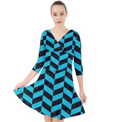 Chevron1 Black Marble & Turquoise Colored Pencil Quarter Sleeve Front Wrap Dress