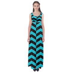 Chevron2 Black Marble & Turquoise Colored Pencil Empire Waist Maxi Dress