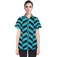 Chevron2 Black Marble & Turquoise Colored Pencil Women s Short Sleeve Shirt