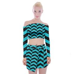 Chevron2 Black Marble & Turquoise Colored Pencil Off Shoulder Top With Mini Skirt Set by trendistuff