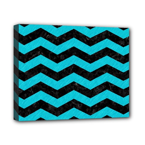 Chevron3 Black Marble & Turquoise Colored Pencil Canvas 10  X 8  by trendistuff