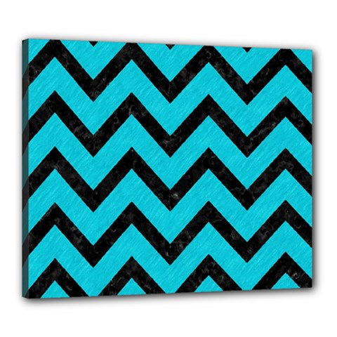 Chevron9 Black Marble & Turquoise Colored Pencil Canvas 24  X 20