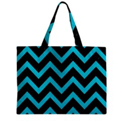 Chevron9 Black Marble & Turquoise Colored Pencil (r) Zipper Mini Tote Bag by trendistuff