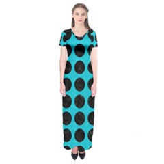 Circles1 Black Marble & Turquoise Colored Pencil Short Sleeve Maxi Dress