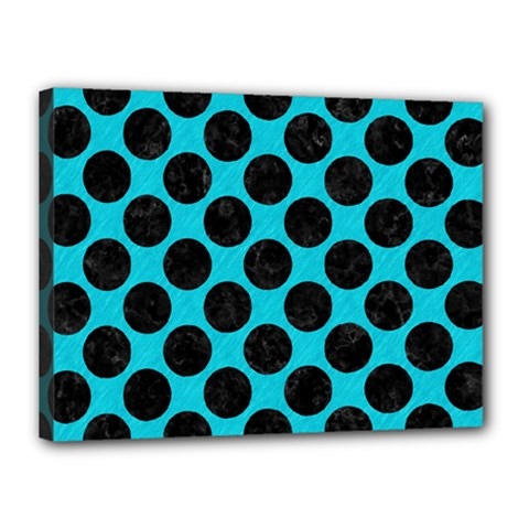 Circles2 Black Marble & Turquoise Colored Pencil Canvas 16  X 12  by trendistuff