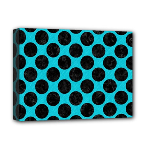 Circles2 Black Marble & Turquoise Colored Pencil Deluxe Canvas 16  X 12   by trendistuff