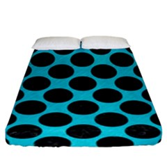 Circles2 Black Marble & Turquoise Colored Pencil Fitted Sheet (king Size) by trendistuff