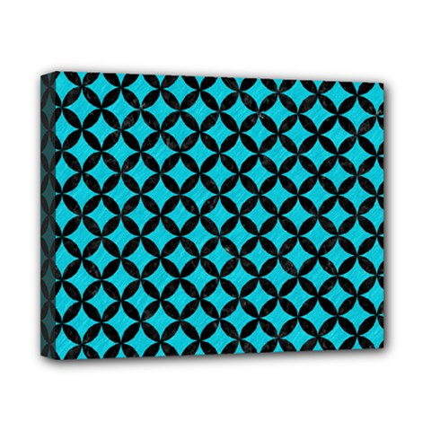 Circles3 Black Marble & Turquoise Colored Pencil Canvas 10  X 8  by trendistuff