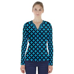 Circles3 Black Marble & Turquoise Colored Pencil V Neck Long Sleeve Top