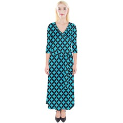 Circles3 Black Marble & Turquoise Colored Pencil Quarter Sleeve Wrap Maxi Dress