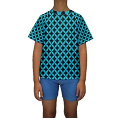 Circles3 Black Marble & Turquoise Colored Pencil (r) Kids  Short Sleeve Swimwear