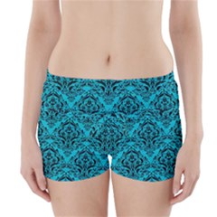 Damask1 Black Marble & Turquoise Colored Pencil Boyleg Bikini Wrap Bottoms by trendistuff