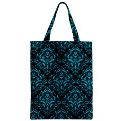 Damask1 Black Marble & Turquoise Colored Pencil (r) Zipper Classic Tote Bag by trendistuff