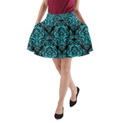 Damask1 Black Marble & Turquoise Colored Pencil (r) A Line Pocket Skirt by trendistuff