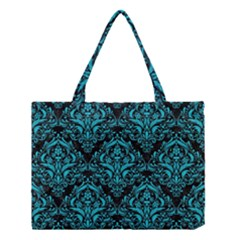 Damask1 Black Marble & Turquoise Colored Pencil (r) Medium Tote Bag by trendistuff