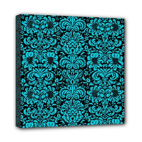 Damask2 Black Marble & Turquoise Colored Pencil (r) Mini Canvas 8  X 8  by trendistuff