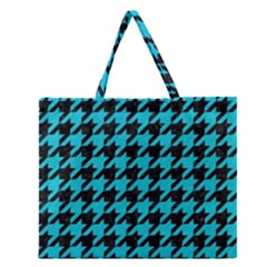Houndstooth1 Black Marble & Turquoise Colored Pencil Zipper Large Tote Bag by trendistuff