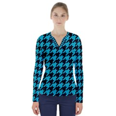 Houndstooth1 Black Marble & Turquoise Colored Pencil V Neck Long Sleeve Top
