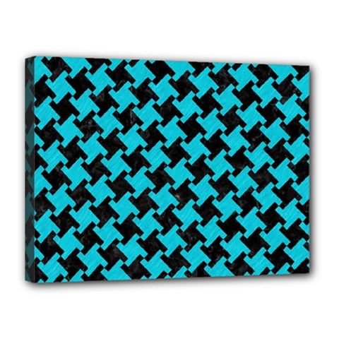 Houndstooth2 Black Marble & Turquoise Colored Pencil Canvas 16  X 12  by trendistuff