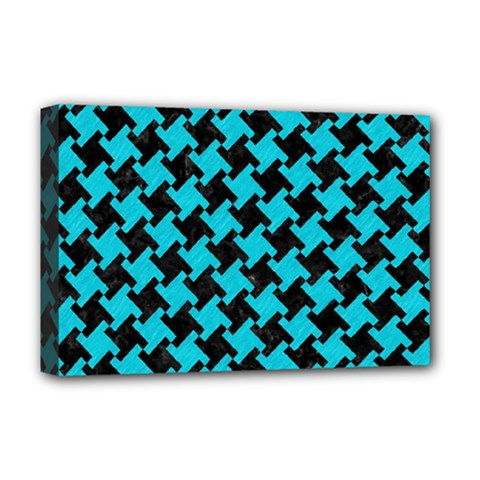 Houndstooth2 Black Marble & Turquoise Colored Pencil Deluxe Canvas 18  X 12   by trendistuff
