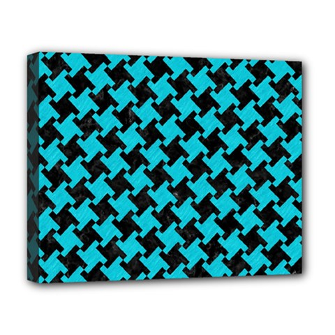 Houndstooth2 Black Marble & Turquoise Colored Pencil Deluxe Canvas 20  X 16   by trendistuff