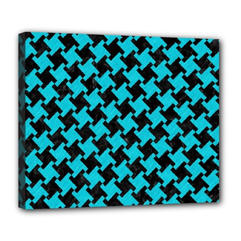 Houndstooth2 Black Marble & Turquoise Colored Pencil Deluxe Canvas 24  X 20   by trendistuff