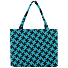 Houndstooth2 Black Marble & Turquoise Colored Pencil Mini Tote Bag by trendistuff