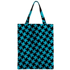 Houndstooth2 Black Marble & Turquoise Colored Pencil Zipper Classic Tote Bag by trendistuff