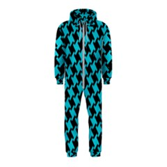 Houndstooth2 Black Marble & Turquoise Colored Pencil Hooded Jumpsuit (kids) by trendistuff