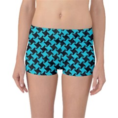 Houndstooth2 Black Marble & Turquoise Colored Pencil Boyleg Bikini Bottoms by trendistuff