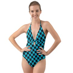 Houndstooth2 Black Marble & Turquoise Colored Pencil Halter Cut Out One Piece Swimsuit by trendistuff