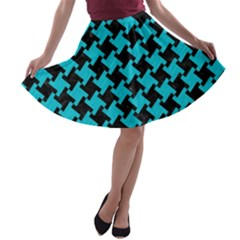Houndstooth2 Black Marble & Turquoise Colored Pencil A Line Skater Skirt by trendistuff
