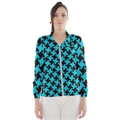 Houndstooth2 Black Marble & Turquoise Colored Pencil Wind Breaker (women) by trendistuff