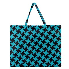 Houndstooth2 Black Marble & Turquoise Colored Pencil Zipper Large Tote Bag by trendistuff